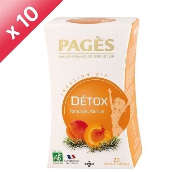 PAGES Lot de 10 Infusions Detox Bio