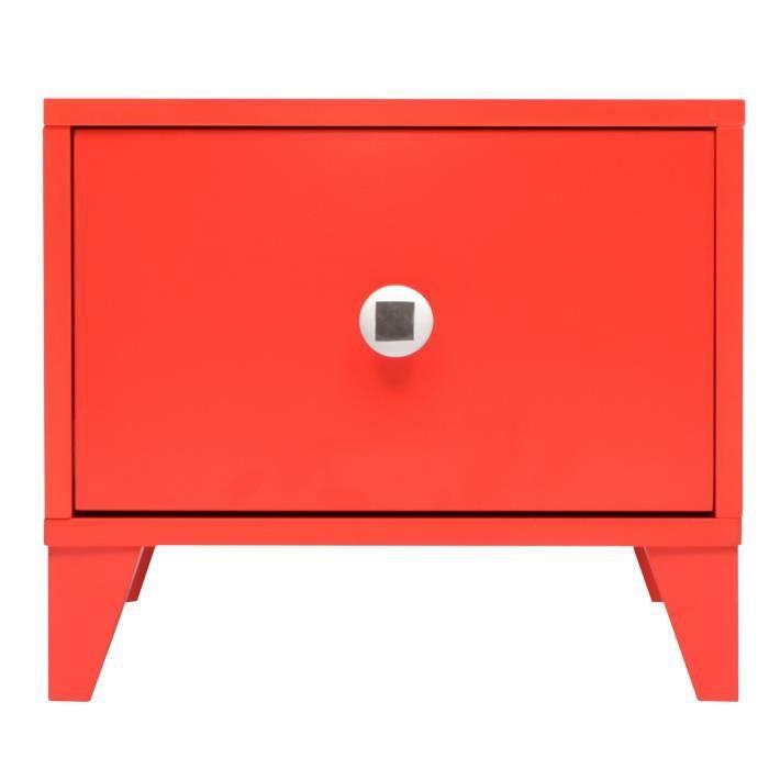 MDF laqué rouge - L 38 x P 45 x H 33 cm - 1 tiroir - Poignée en céramiqueCHEVET