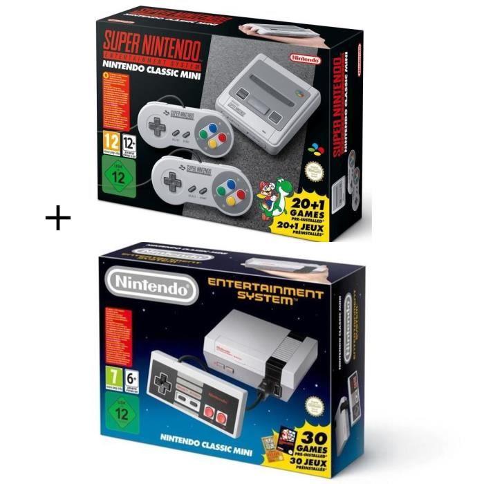 Pack 2 consoles retro nintendo super nes classic mini nes
