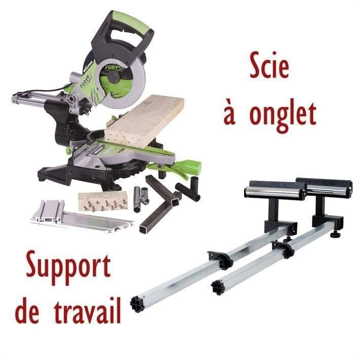 EVOLUTION Scie à onglet radiale FURY3XL & Support