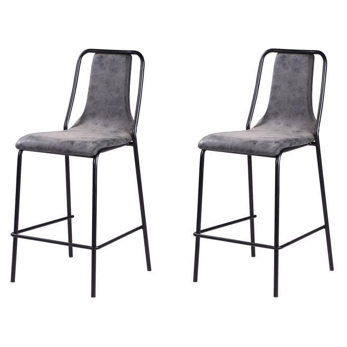 Lot de 2 tabourets de bar pieds en métal noir - Revêtement simili PU gris anthracite - Industriel - L 40 x P 50 cm