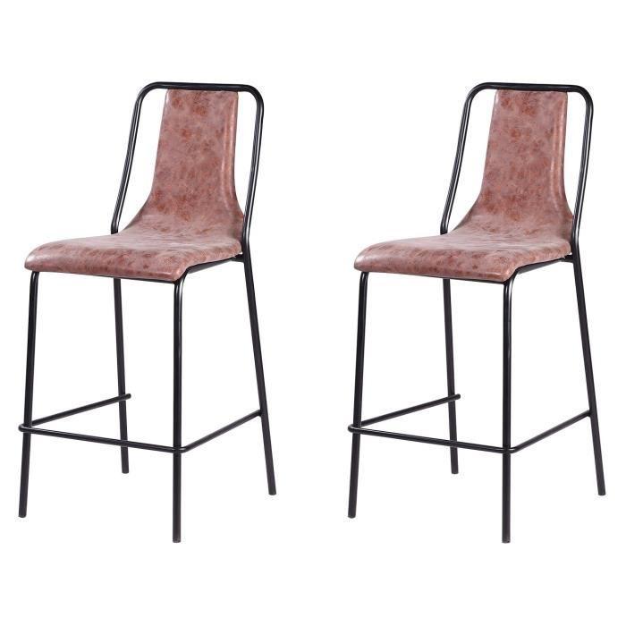 Lot de 2 tabourets de bar pieds en métal noir - Revêtement simili PU marron - Industriel - L 40 x P 50 cm