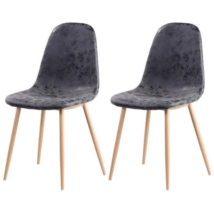 Panneaux de particules + pieds en métal imitation bois Revêtement simili PU gris - L 45 x P 54 cm - Lot de 2CHAISE