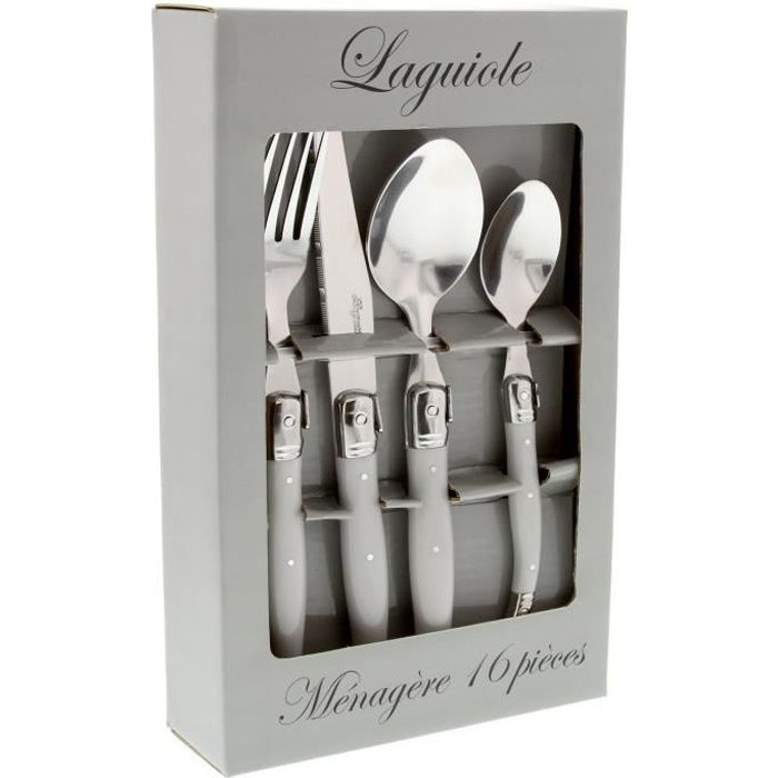 LAGUIOLE Ménagère 16 pièces manches gris uni