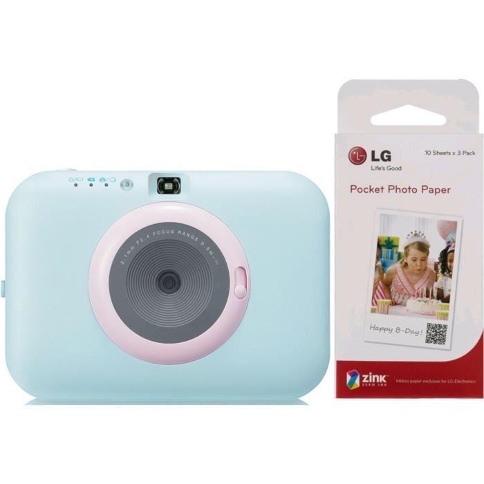 LG PC389 POCKET PHOTO PAPER - Appareil photo instantané - Impression papier - Bleu + 30 Feuilles