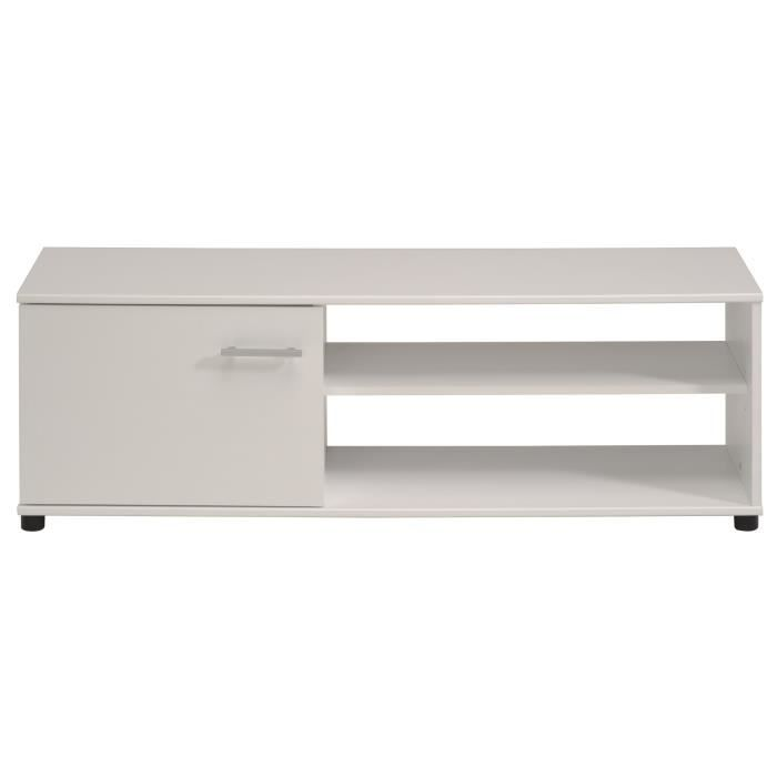 Panneaux de particules blanc - L 121 x P 40 x H 41 cm - 1 porte et 2 nichesMEUBLE TV - MEUBLE HI-FI