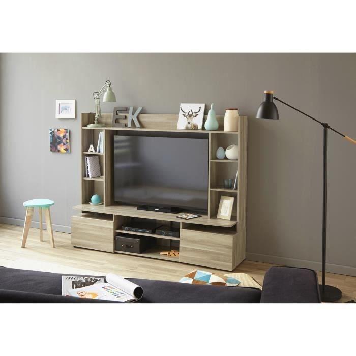 Panneaux de particules décor chêne silex - L 165,5 x P 39,5 x H 131 cm - 3 portes, 2 niches et étagèresMEUBLE TV - MEUBLE HI-FI