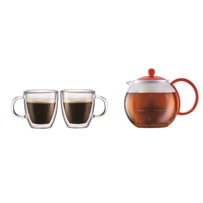 BODUM ASSAM Theière à piston 1L + BISTRO Set de 2 mugs double paroi 0,3L - Rouge/Transparent