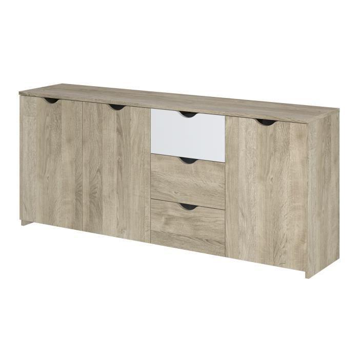 Buffet - 3 portes 3 tiroirs - Décor chêne et blanc - L 180 x P 40 x H 75 cm - AUSTIN