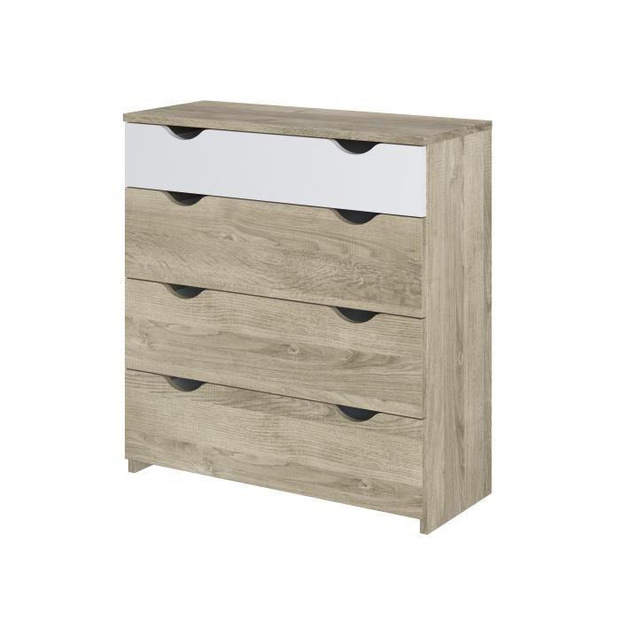 Commode 4 tiroirs - Décor chêne et blanc - L 83,3 x P 34,6 x H 88,5 cm - AUSTIN