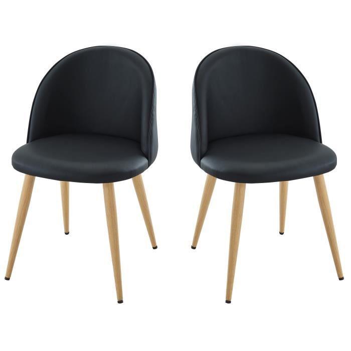 MACARON Lot de 2 chaises de salle à manger - Simili noir - Scandinave - L 50 x P 50 cm