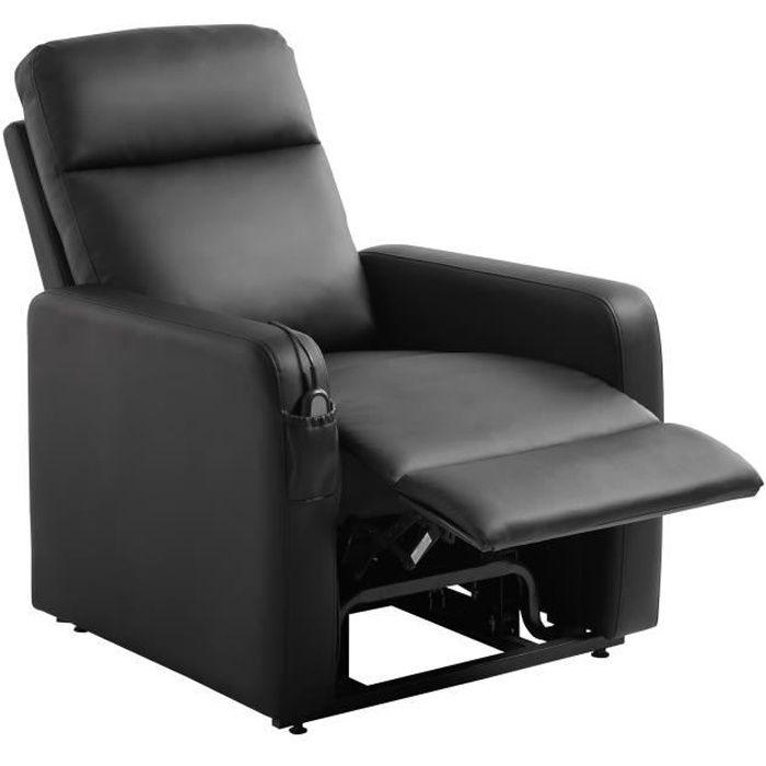 PROMOTION - Fauteuil releveur de relaxation électrique - Simili noir - S'asseoir et se relever en to
