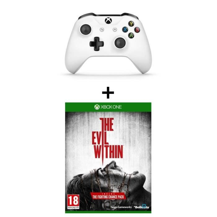 Manette Xbox One sans fil blanche + Evil Within