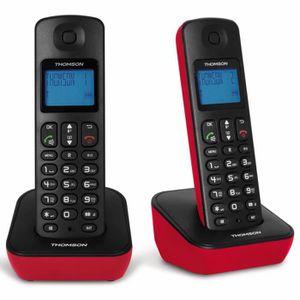 Thomson Mica Duo Téléphone Sans Fil Sans Répondeur Rouge