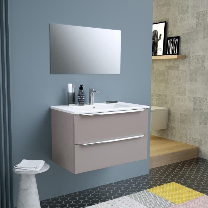ZOOM meuble de salle de bain simple vasque avec miroir L 80cm - 2 tiroirs à fermeture ralenties - Ta