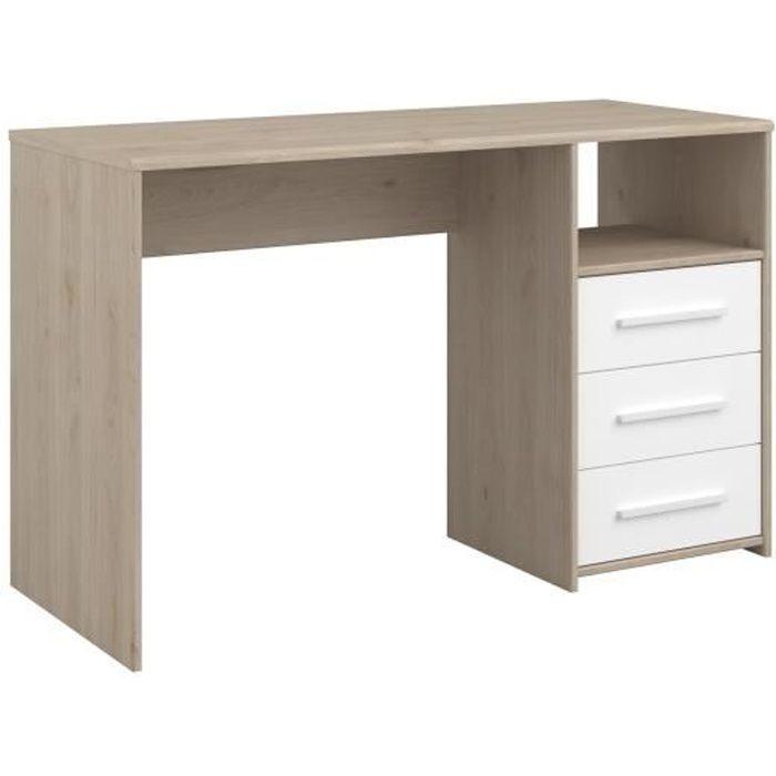 LIAM Bureau enfant 3 tiroirs et 1 niche - décor chêne jackson et blanc - L120 cm