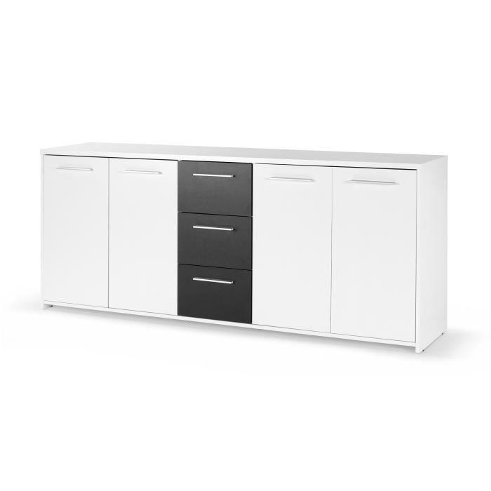 PILVI Buffet bas contemporain blanc et noir mat - L 179 cm