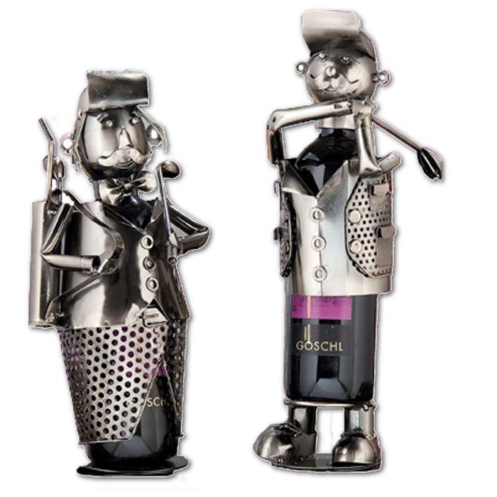 Portes bouteilles métal Golf - 2 petit golfeursRANGE BOUTEILLE (NON MEUBLE) - TAPIS RANGE BOUTEILLE