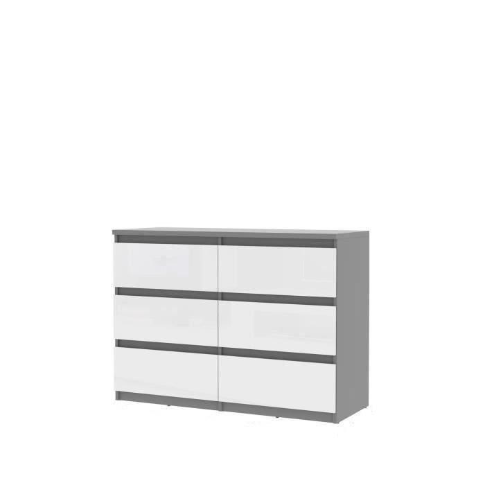 FINLANDEK Commode de chambre NATTI style contemporain gris mat et blanc brillant - L 110 cm