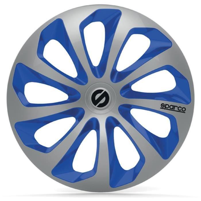 SPARCO 4 Enjoliveurs 14 Pouces Sicilia Argent et Bleu