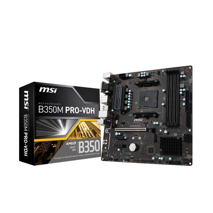 Carte mère Serie B350 - Processeur : Support des processeurs AMD® RYZEN et AMD® 7ème génération série A/Athlon™ - Socket : AM4 - Mémoire DDR4 : 1866/ 2133/ 2400/ 2667(OC)/ 2933(OC)/ 3200 (OC)+ Mhz - 4 Slots DIMM - Mémoire : 64 GoCARTE MERE