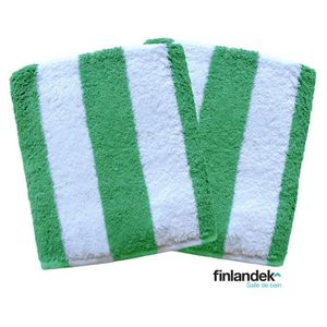 FINLANDEK Lot de 2 serviettes de toilette 50x100 cm rayées vert