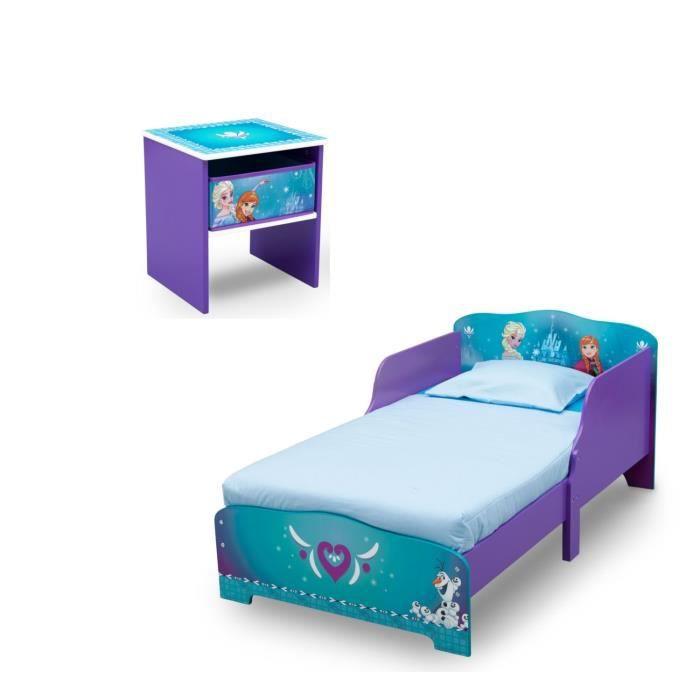 LA REINE DES NEIGES Chambre enfant Lit en bois et table de chevet