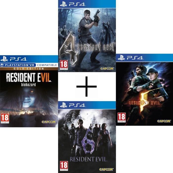 Pack jeux Resident Evil 4, 5, 6 et 7 sur PS4