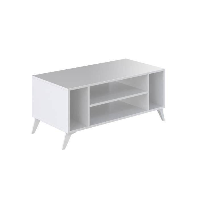 SUN Table basse style contemporain blanc brillant - L 100 x l 50 cm
