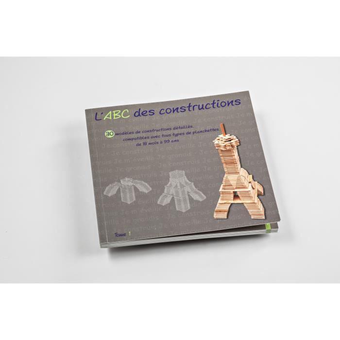 MECABOIS Livre L'ABC des Constructions - Modèles constructions planchettes en bois - Fabriqué en France