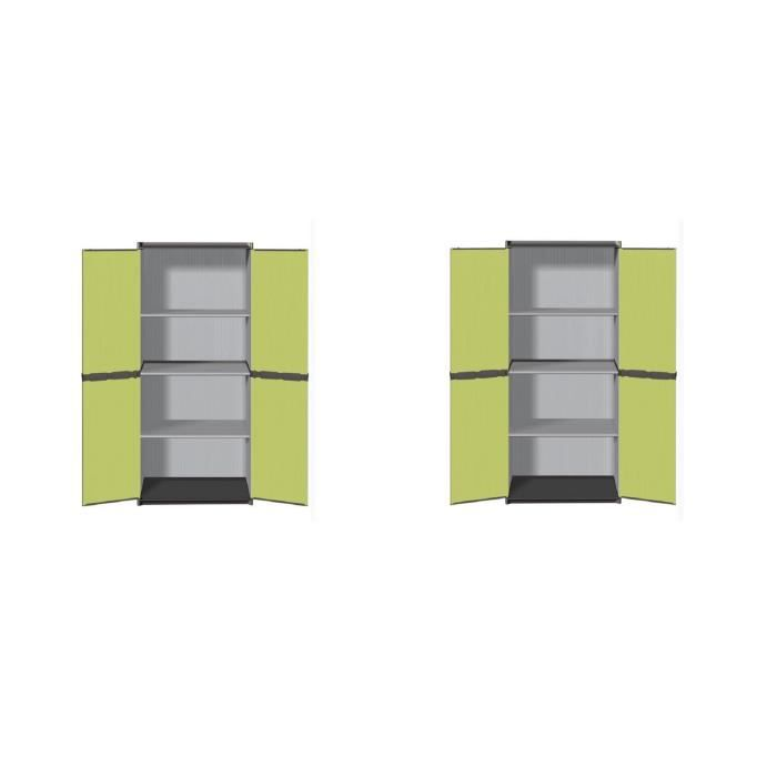 TOOD Lot de 2 armoires hautes de rangement 3 tablettes en résine