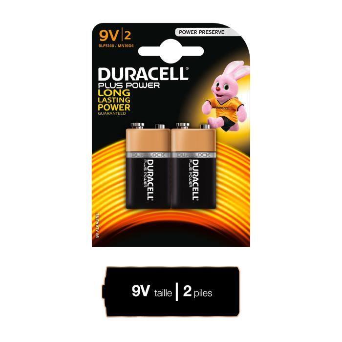 DURACELL Plus Power Piles type 9V Lot de 2