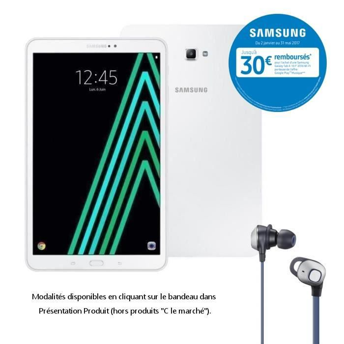 Samsung Galaxy Tab A6 10,1'' + écouteurs Knob filaires offerts - 2Go RAM - Android 6.0 - Octo Core - ROM 16Go - WiFi/Bluetooth