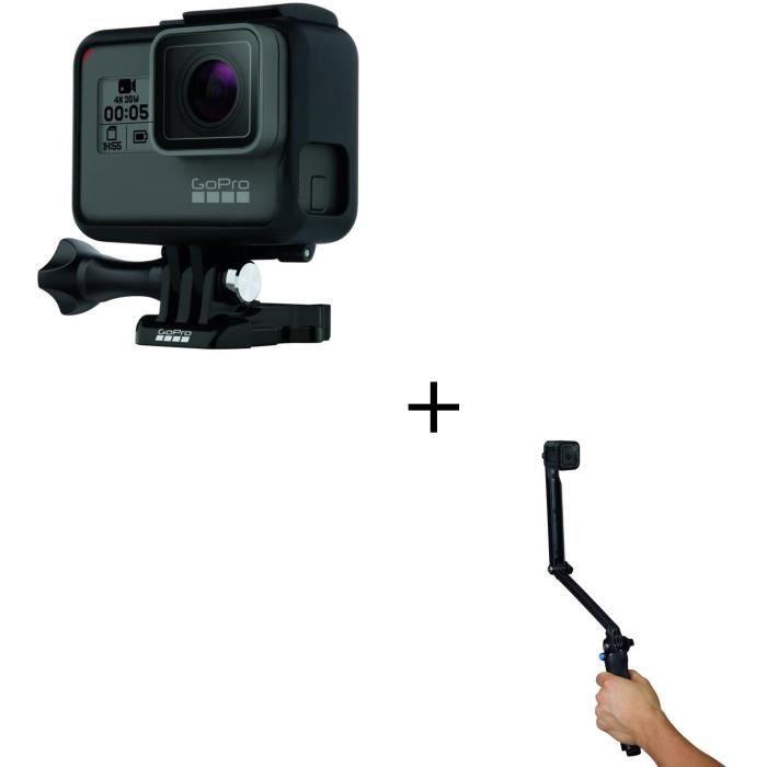 GOPRO HERO 5 Black Caméra de sport + GOPRO AFAEM-001 3-WAY Fixation 3 en 1 - Poignée - Bras - Trépied
