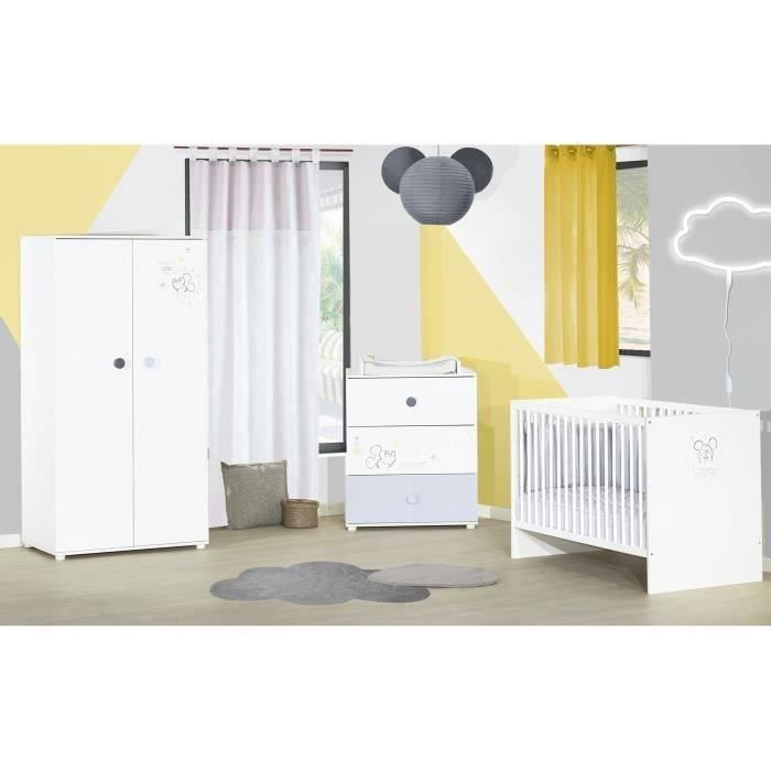 MICKEY Sweetest Little Things Chambre complète bébé : lit 60*120 cm commode armoire - Baby Price