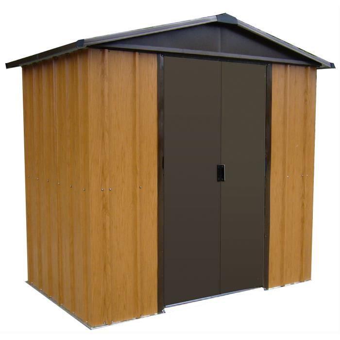 YARDMASTER Abri de jardin en métal 5,97m² - Aspect bois et marron