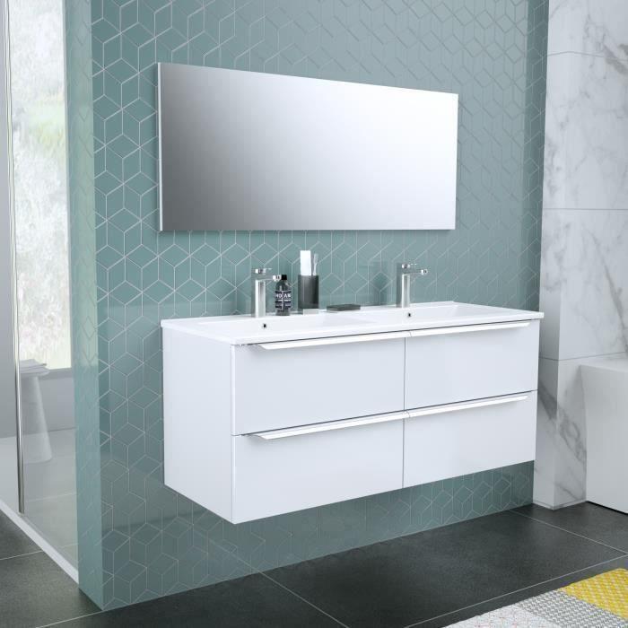 ZOOM meuble de salle de bain double vasque avec miroir L 120cm - 4 tiroirs à fermeture ralenties - B