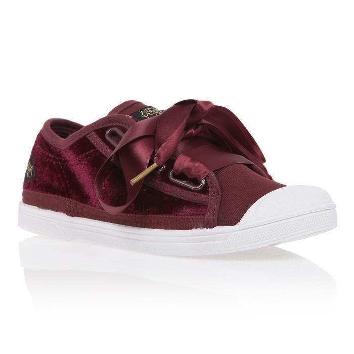 LE TEMPS DES CERISES Baskets Sportwear Basic 02 Lace en Velours Rouge Bordeaux Femme
