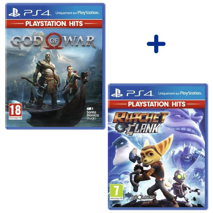 Pack 2 Jeux PS4 PlayStation Hits : God of War + Ratchet & Clank