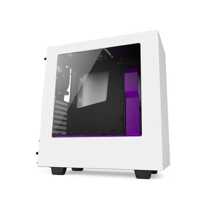NZXT Boîtier PC S340 - Moyen Tour - Fenêtre - Blanc / Violet