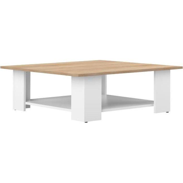 Table basse LIME - Décor blanc et chêne - 89x89 cm