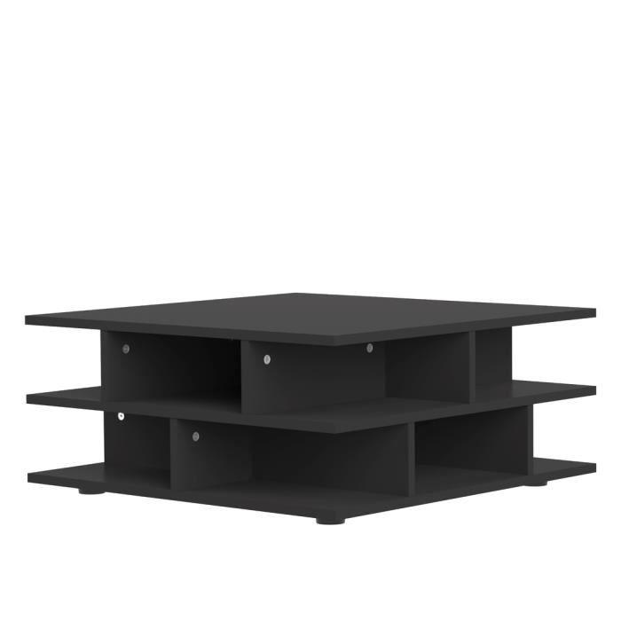 Table basse carrée 70 cm MULTI coloris noir