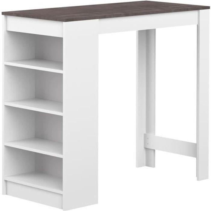 CURRY Table bar de 2 à 4 personnes style contemporain blanc mat et effet béton - L 115 x l 50 cm
