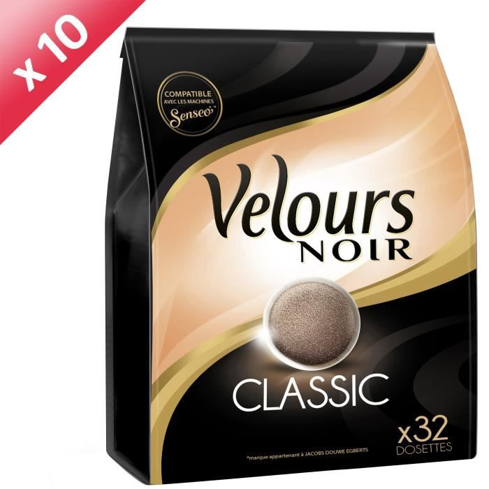 VELOURS NOIR Lot de 10 Cafés Classique 32 dosettes