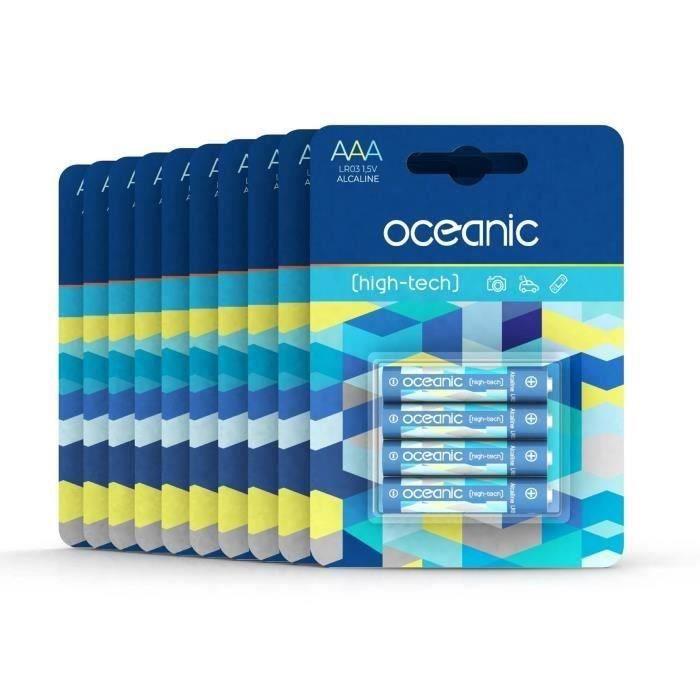 Lot 40 Piles Oceanic 10 packs de 4 piles Alcalines LR06/AA 1.5V High-Tech