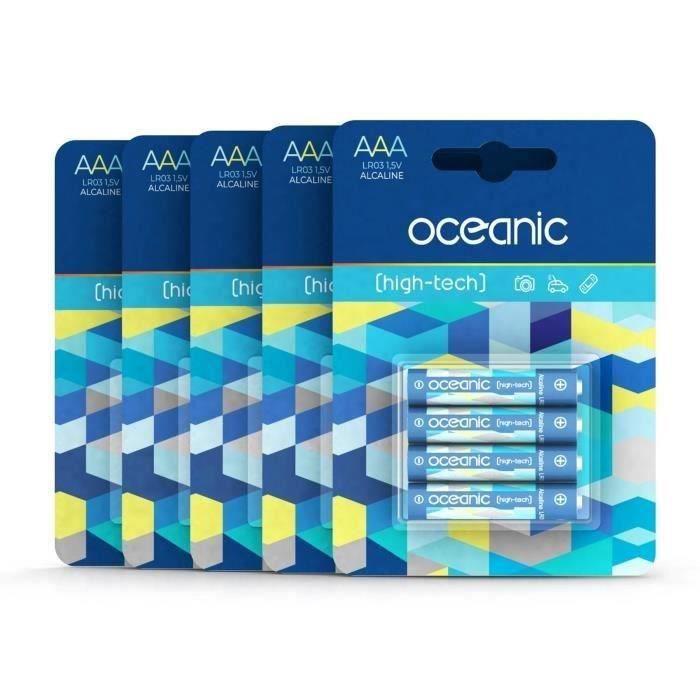 20 Piles Oceanic 5 packs de 4 piles Alcalines LR06/AA 1.5V High-Tech