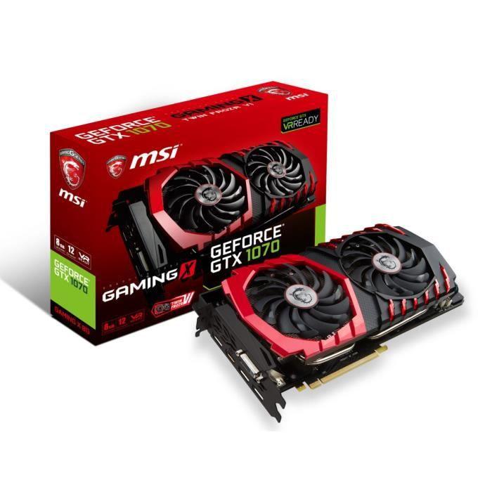 Carte graphique GeForce® GTX 1070 - Mémoire GDDR5 8 Go (8192 Mo) - PCI Express x16 3.0 - DisplayPort/HDMI/DL-DVI-D - Fréquence du GPU (MHz) : Mode OC : 1797 MHz / 1607 MHzCARTE GRAPHIQUE INTERNE
