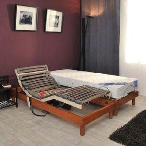 GFL BELLE LITERIE Ensemble matelas + sommiers 2x90x200cm 21cm 100% latex tr?s ferme 75kg/m? relaxation électrique