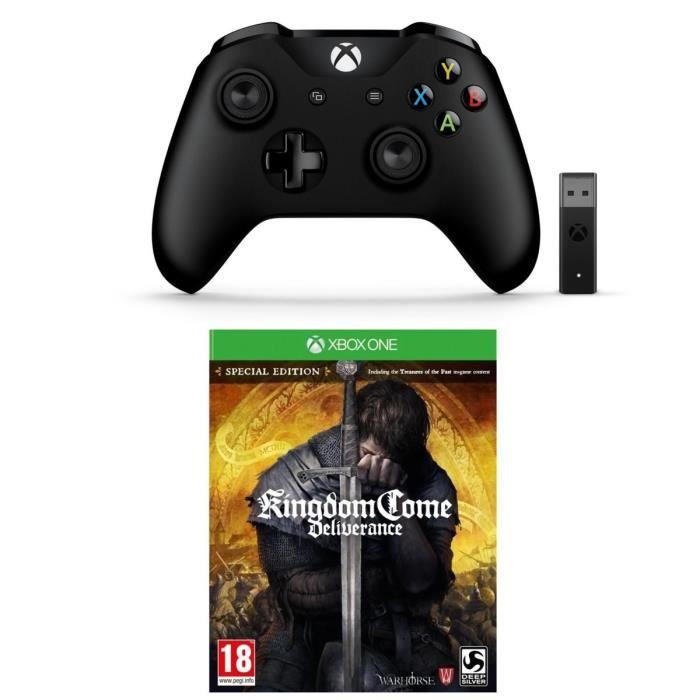 Manette Xbox One et Adaptateur Sans Fil pour Windows 10 + Kingdom Com Jeu Xbox One
