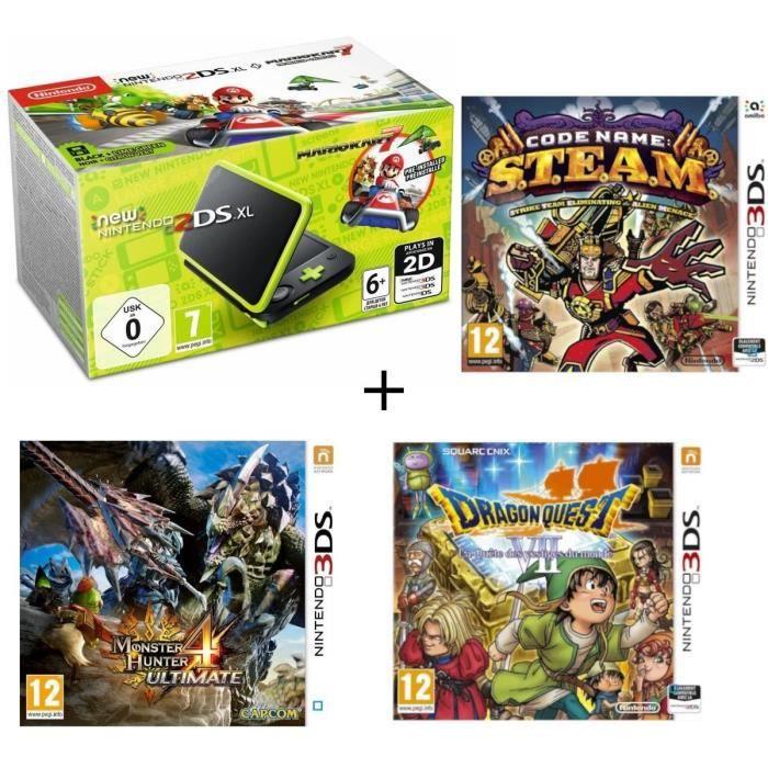 New DS XL Noir et Citron + Monster Hunter 4 Ultimate + Dragon Quest VII + Code Name : STEAM